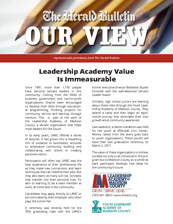 The Herald Bulletin article in support of Leadership Academy of Madison County